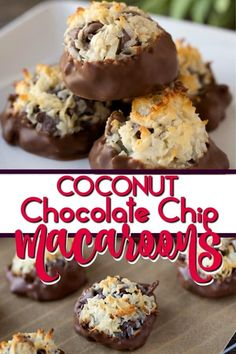 This Chocolate Dipped Coconut Chocolate Chip Macaroon Recipe makes the sweetest and chewy dessert with only 4 ingredients (sweetened coconut flakes, sweetened condensed milk, vanilla, and chocolate chips - EASY! Chocolate Macaroons, Coconut Chocolate, Chocolate Chip Recipes, Chocolate Dipped, Chocolate Chips, Chocolate Squares, Chocolate Desserts, Passover Desserts, Passover Recipes