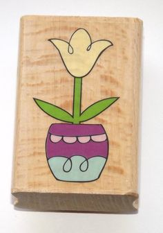 Tulip Flowers Wood Mounted Rubber Stamp by thepinkmarket on Etsy, $2.50