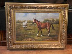 Horse and Pony Victorian Oil Painting Pastoral Landscape English Art