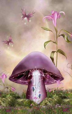 Fantasy Forest, Fantasy Art, Mushroom Wallpaper, Mushroom Art, Mushroom House, Scrapbook Background, Naruto Gaara, Fable, Bright Art