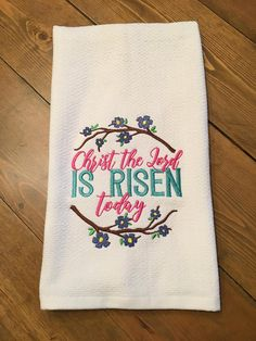 Kitchen Dish Towel Easter He Is Risen Sunflower Cross