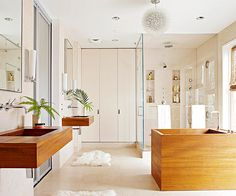 Spa-like elements turn this nature-inspired bath into a relaxing retreat. See the rest of this space here: http://www.bhg.com/bathroom/decorating/modern/simple-nature-inspired-bathroom/?socsrc=bhgpin051813natureinspiredbath