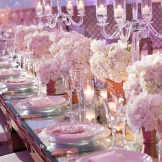 Breathtaking tablescape featuring our Gold Rimmed Alpine Charger Plates placed atop our Mirror Rose Gold Washington Dining Tables. Creative Team: Coordinator @bentopevents   Rentals @palacepartyrental   Venue @templeemanuelbh