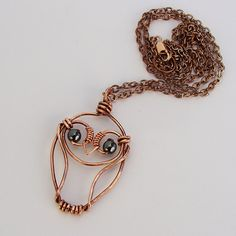 Little Owl Copper Wire Necklace by sparkflight on Etsy, $25.00