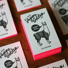 Hot pink edges on 220# Cranes lettra cotton paper, with 100% hand-drawn type and a hand-drawn llama. Beautiful one color letterpress printing done by the Mandate Press. Designed by: Shyama Golden