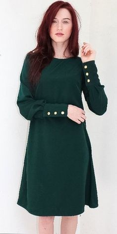 modest green dress with gold button detail Mode-sty #nolayering