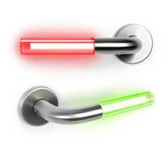 Star Wars lightsaber door handles (not really what they were designed for, but would be fun on bathroom door: red locked - green open)