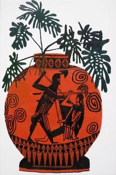 'Greek Pot with Green Leaves' (2011) by LA-based American artist Jonas Wood (b.1977). Oil on canvas, 36 x 24 in. source: David Kordansky Gallery. via Dossier Journal