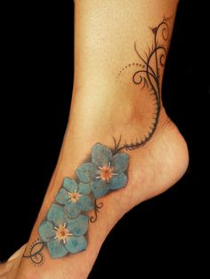 """Organic Pattern and """"Forget me not"""" flowers tattoo by Miguel Angel tattoo, via Flickr"""