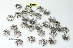 30 Perlenkappen Stern silber massiv 6mm K51.2