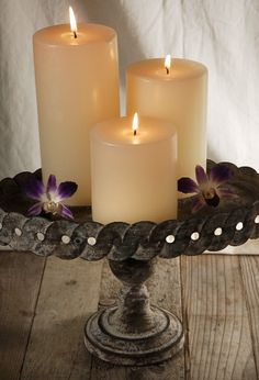 Candles on antique metal stand.   Save-on-crafts.com  Great Site!