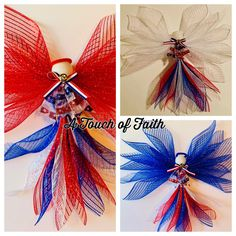 Celebrate the USA all summer long with our patriotic angels! Want to rotate the red, white, and blue? Contact us directly and we'll create a custom angel just for you. Just tap the shopping bag 👜 on the lower left to SHOP NOW. Wreaths For Sale, How To Make Wreaths, American Flag Decor, Create Invitations, Patriotic Wreath, Angel Ornaments, Front Door Decor, Independence Day, Memorial Day