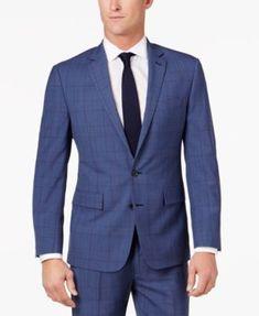 Ryan Seacrest Distinction™ Men's Slim-Fit Blue Herringbone Plaid Suit Jacket, Created for Macy's