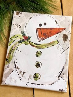 This is a print of an original snowman painting by artist haley bush. options: - thin canvas - thick canvas canvas prints are sealed with Christmas Signs, Diy Christmas Ornaments, Christmas Snowman, Christmas Projects, Country Christmas, Holiday Crafts, Xmas, Snowman Decorations, Snowman Crafts