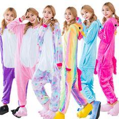 dfd1b1ada4 Unisex Adult Winter Unicorn Pajamas 2018 Animal Pajama Sets Sexy Hooded  Homewear Flannel Sleepwear Female Cute