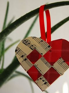 use a song sheet with a favorite hymn and make a heart ornament.