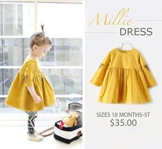 Millie Dress!!! Mustard dress with elbow patches