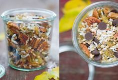 Trail Mix:  Pecans (lightly toasted if you like) Golden raisins Shredded coconut Dark chocolate morsels Sunflower seeds Chopped candied ginger