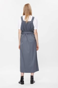 COS image 3 of Dungaree dress in Shadow Blue