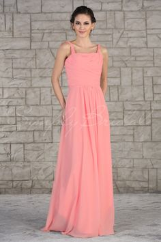 #85216 - Floor Length A-Line Chiffon Dress with Strapes - Bridesmaid Dress - Simply Bridal