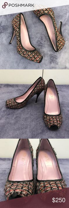 """442dbfe1fc13c RED Valentino tweed pumps Super fun tweed and black patent leather 4.5""""  pumps by RED Valentino! EUC - patent leather and tweed are perfection!"""