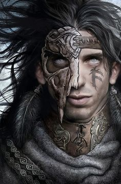dark fantacy dragon hair | Fantasy picture with a man with a mask half over his face