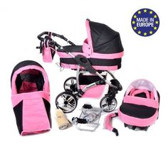 Twing, 3-in-1 Travel System with Baby Pram, Car Seat, Pushchair & Accessories, Black & Pink - http://www.curiositycreates.co.uk/twing-3-in-1-travel-system-with-baby-pram-car-seat-pushchair-accessories-black-pink/