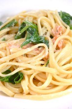 Spaghetti met Gerookte Zalm en Spinazie
