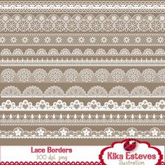 INSTANT DOWNLOAD Lace Borders - Digital Clipart / Scrapbooking - card design, invitations, paper crafts, web design. $4.50, via Etsy.