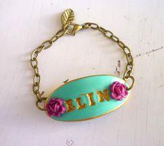 Custom Name Bracelet  Girl Jewelry  Baby girl  Flower by Palomaria