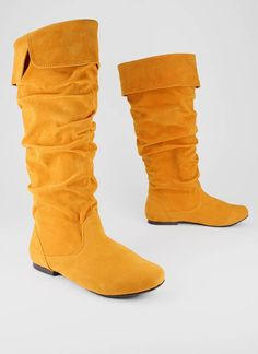 Yellow suede boots- Go Jane