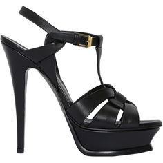 Saint Laurent Women 140mm Tribute Leather Sandals (€740) ❤ liked on Polyvore featuring shoes, sandals, leather sandals, leather sole sandals, leather shoes, leather high heel sandals and high heel shoes