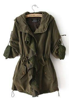Army Green Drawstring Hooded Slim Windbreaker