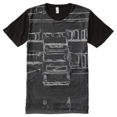 Shop trailer and building drawing All-Over-Print T-Shirt created by ZierNorShirt. Personalize it with photos & text or purchase as is! Types Of T Shirts, Building Drawing, Stylish Shirts, Black And White Drawing, S Shirt, Printed Shirts, Funny Tshirts, Shirt Designs, Drawings