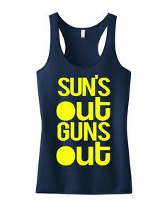 Summer is Coming! SUN'S OUT GUNS Out Navy Blue Tank Top Racerback. #Crossfit #Gym #Workout by NobullWomanApparel, $24.99 on Etsy. Hurry and get yours in time for summer! https://www.etsy.com/listing/189409328/suns-out-guns-out-tank-racerback-workout?ref=shop_home_active_2