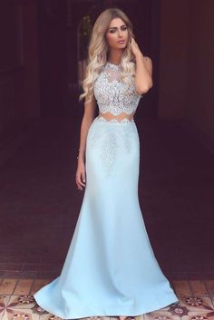 Fancy Mermaid Two Pieces Light Blue Satin Prom Dress with Lace Appliques from Tidetell Prom Dress, Two Pieces Prom Dresses, Blue Prom Dresses, Prom Dresses Lace, Prom Dresses Mermaid Prom Dresses 2019 Two Piece Evening Dresses, Evening Dress Long, Prom Dresses Two Piece, Prom Dresses 2017, Mermaid Evening Dresses, Evening Gowns, Evening Party, Graduation Dresses, Light Blue Prom Dresses