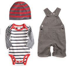 This 3 piece Baby Boy Overall Outfit (striped hat +bodysuit + bib pants) - Long sleeve striped bodysuit - Full length bib pants - Cotton - Kids' Wear