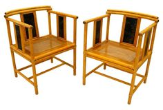 Bamboo Pagoda   Chairs, Pair