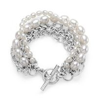 Pretty multi strand chain and pearl bracelet.  Love the beaded toggle too.