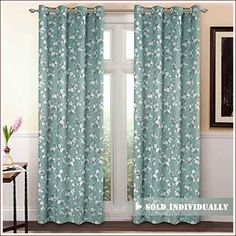 VERSAILTEX Traditional Aqua Floral Country Style Pattern Thermal Insulated Blackout Curtains Living Room,Grommet Window Treatment Drapes Panels), x Inch online - Topusashoppingsites Curtains Living Room, Cool Curtains, Fabric Shower Curtains, Grommet Window Treatments, Country Curtains, Curtains, Silver Curtains, Ready Made Eyelet Curtains, Insulated Blackout Curtains