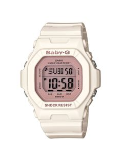 Casio Women's BG5606-7B Baby-G Rose Gold and White Resin Digital Watch