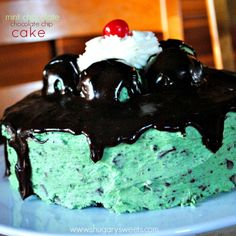 Mint Chocolate Chip Cake: from scratch chocolate cake with mint chocolate chip frosting