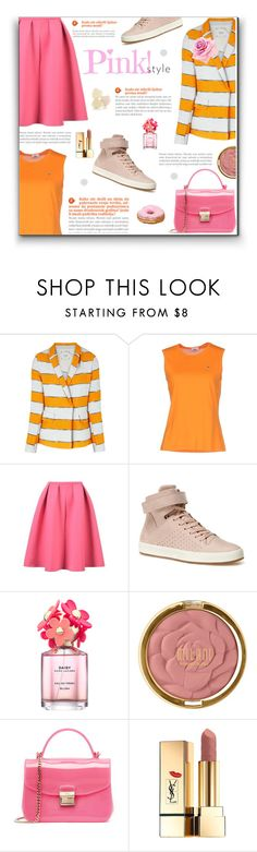 """""""16-04-22 Orange and pink"""" by tianakosya ❤ liked on Polyvore featuring Alysi, Lacoste, Marc Jacobs, Milani, Furla and Yves Saint Laurent"""
