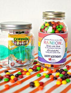 Cute gift idea- printable rainbow birthday tag