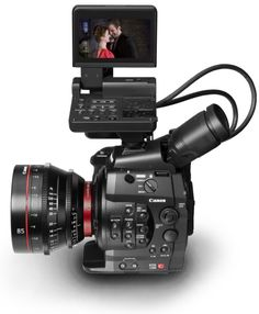 the EOS C300 is the first real stepping stone between DSLR filming and cinema grade stuff, As well as being compact and produce phenomenal image quality. And no rolling shutter!  Heres a C300 simulator to play with.   Button Location Image