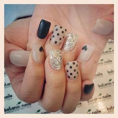 MATTE NUDE and Black Glitter with Hearts #polish #nailart #nails - bellashoot.com
