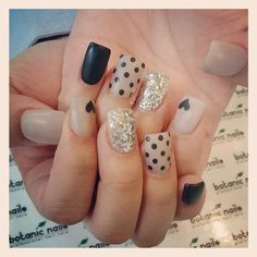 MATTE NUDE and Black Glitter with Hearts #polish #nailart #nails - bellashoot.com