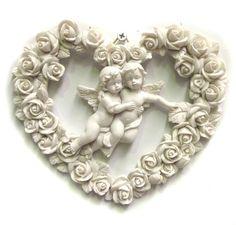 Angel Cherub Wall Art Love Heart Flower Plaque Sculpture Garden 17cm | eBay