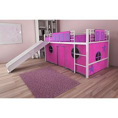 Girl Twin Loft Bed with Slide, autumn needs one of these when she gets old enough that is to cool.