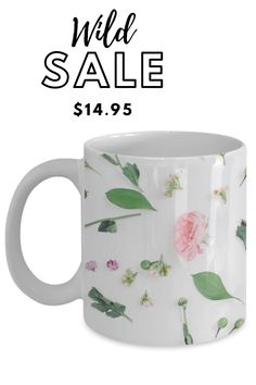 the office coffee mug that'll make all your co-workers jealous. #coffeemugsuniqueceramics Ceramic Coffee Cups, Coffee Mugs, White Roses, Jealous, Flower Patterns, Ceramics, Tableware, Prints, How To Make